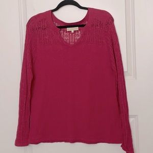 Indigenous Organic Cotton Pink Open Knit Top